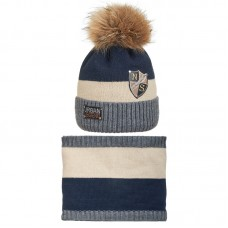 19 Z 113 k Winter hat with snood for boys