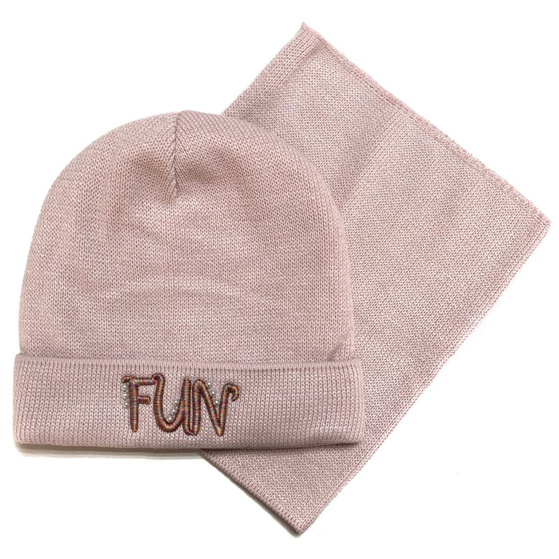 Grans BM-63P Winter hat with snood for girls